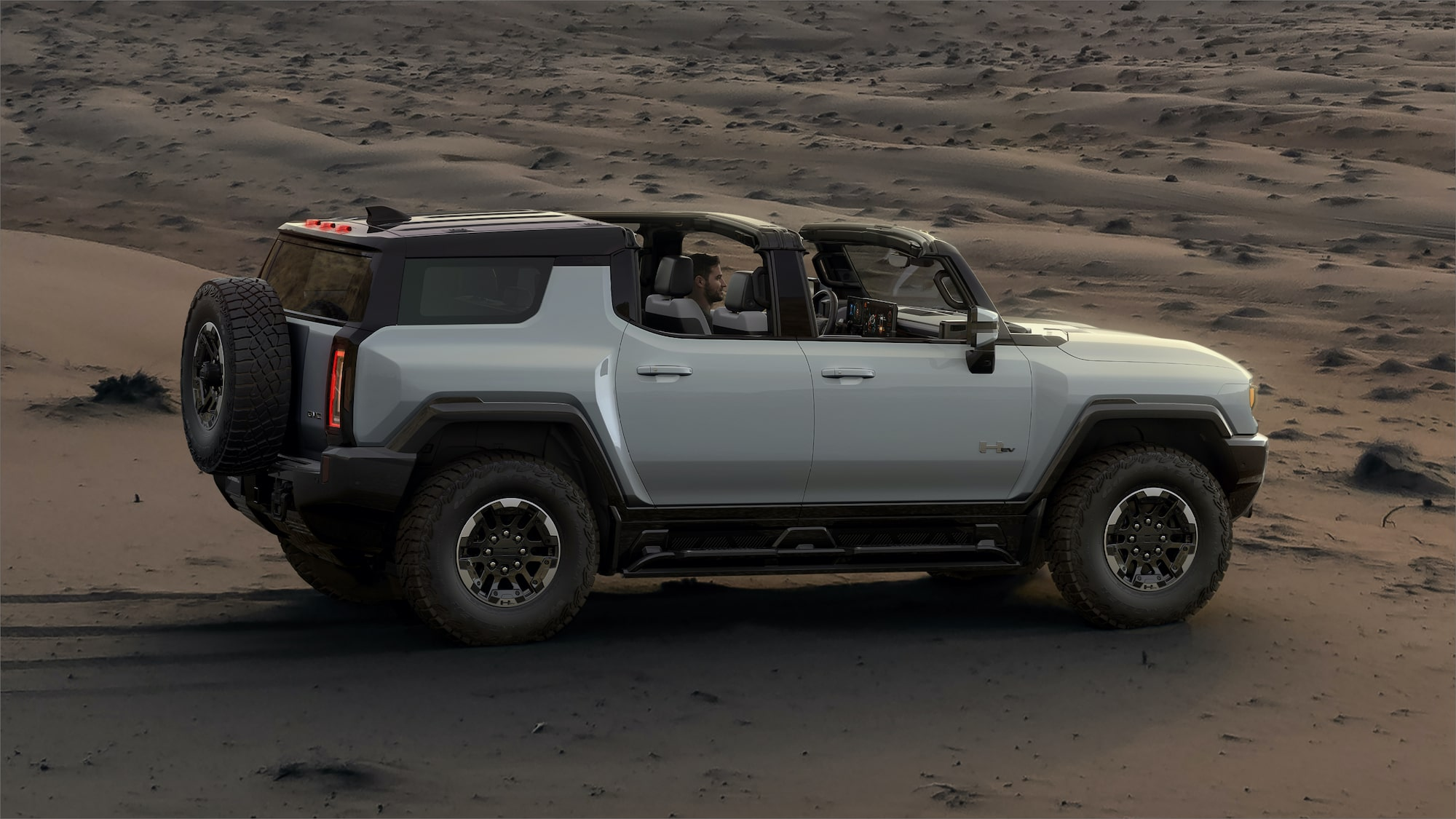 2020 GMC HUMMER EV Electric Truck infinity roof open interior view