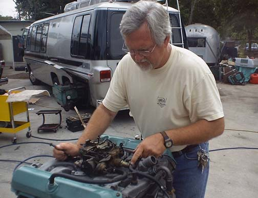 Jim working on motor