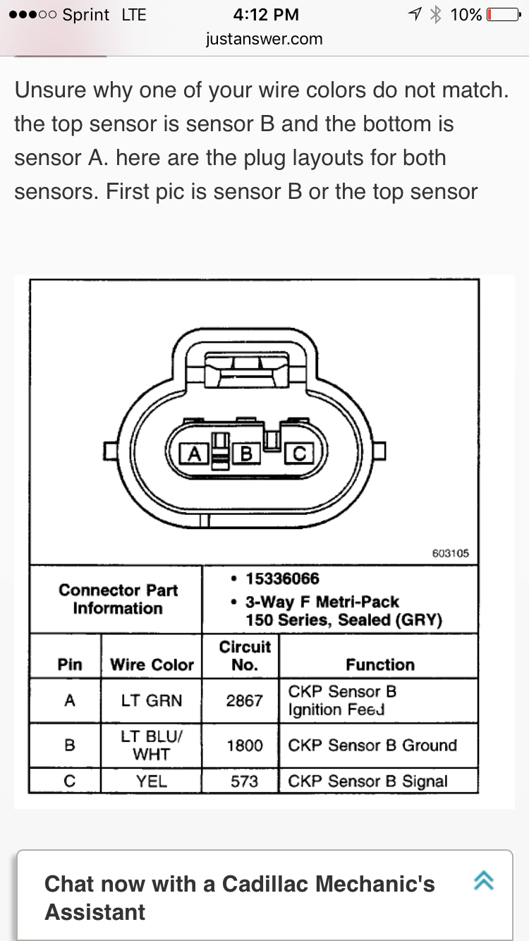 Crankshaft position sensor connectors  GM Forum  Buick, Cadillac, Olds, GMC & Pontiac chat