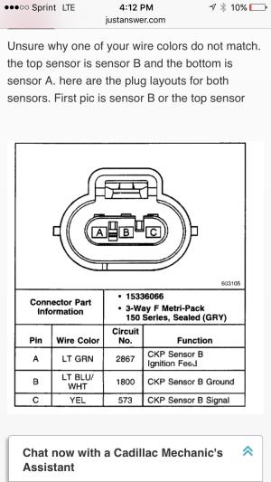 Crankshaft position sensor connectors  GM Forum  Buick