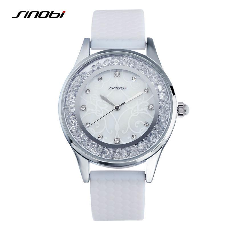 293de16fabe8 SINOBI Ladies Fashion Wrist Quartz-watch White Silicone Strap Women ...