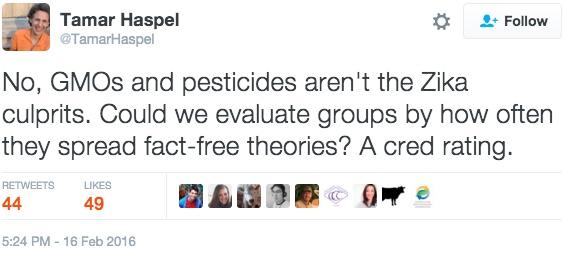 Tamar Haspel Zika Tweet