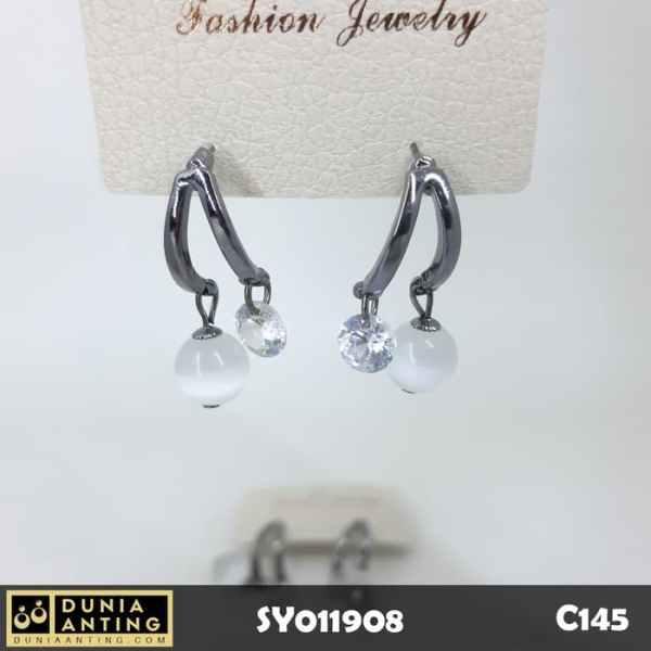 C145 Anting Tusuk Double Gems Permata Mutiara Swarovski Silver 3,5cm