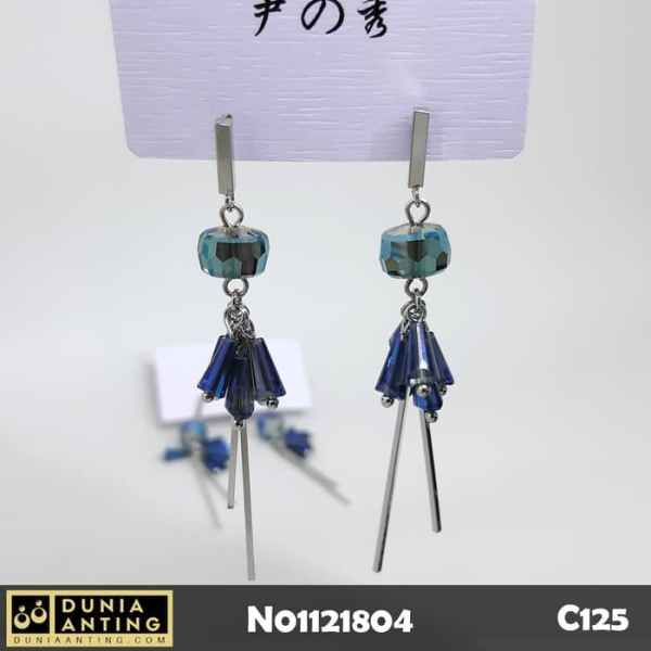 C125 Earings Anting Panjang Platinum Blue Crystal Model Tusuk