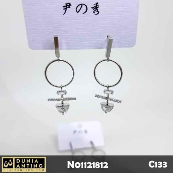 C133 Anting Tusuk Model Happy Kuaile Permata Gem Crystal Earings 4cm