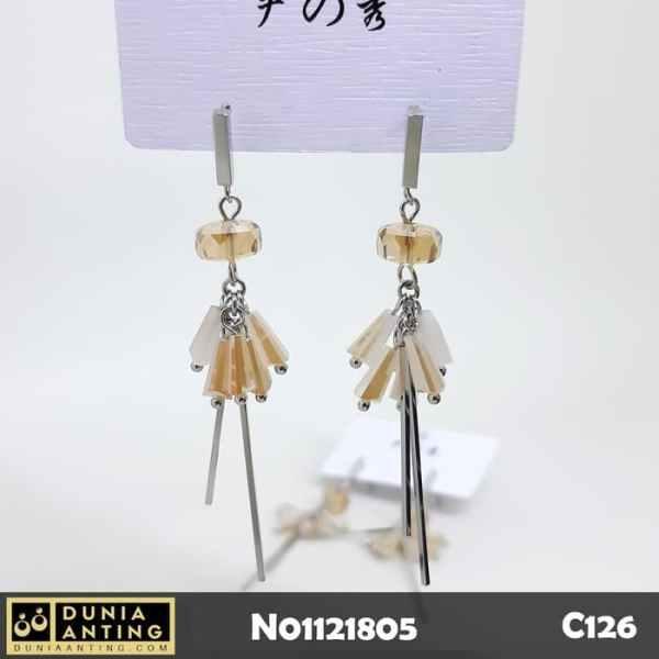 C126 Earings Anting Panjang Platinum Light Brown Crystal Model Tusuk