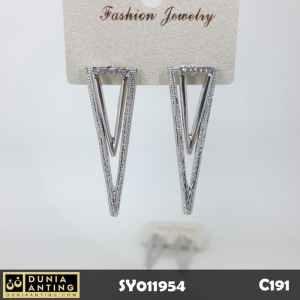 C191 Anting Tusuk Double Triangle Full Swarovski Silver Platinum 5,5cm
