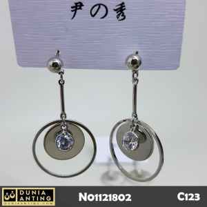 C123 Anting Lapis Emas Putih SIlver Model Round Circle Eyes Crystal