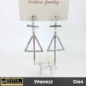 C164 Anting Tusuk Long Cross Triangle Silver Swarovski Mutiara 6cm