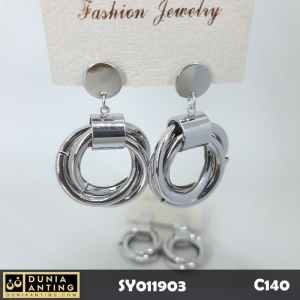 C140 Perhiasan Anting Tusuk Triple Ring Earings Silver Platinum 4 cm