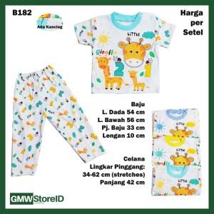B182 Setelan Bayi Giraffe Baju Lengan Pendek Celana Panjang Tebal