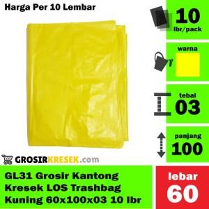 GL31 Grosir Plastik Sampah Kuning LOS Trashbag 60x100x03 isi 10 Lembar