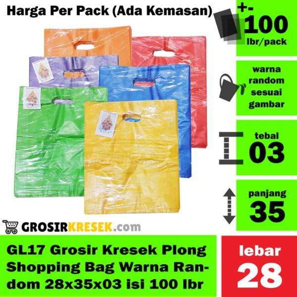 GL17 Grosir Kantong Kresek Shopping Bag Plong Random 28x35x03 100 lbr