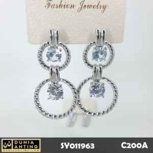 C200a Anting Premium Best Double Circle Swarovski Silver Platinum 5cm