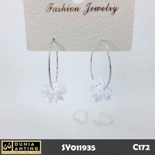 C172 Anting Premium Special Flower Gems Crystal Swarovski Silver 3,2cm