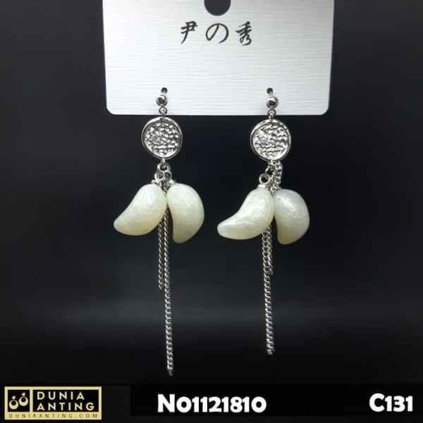 C131 Anting Tusuk Silver Putih Double White Gems 6,5cm Earings