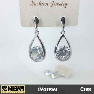 C198 Anting Oval Mutiara Pearl Silver Platinum Swarovski Earrings 4cm