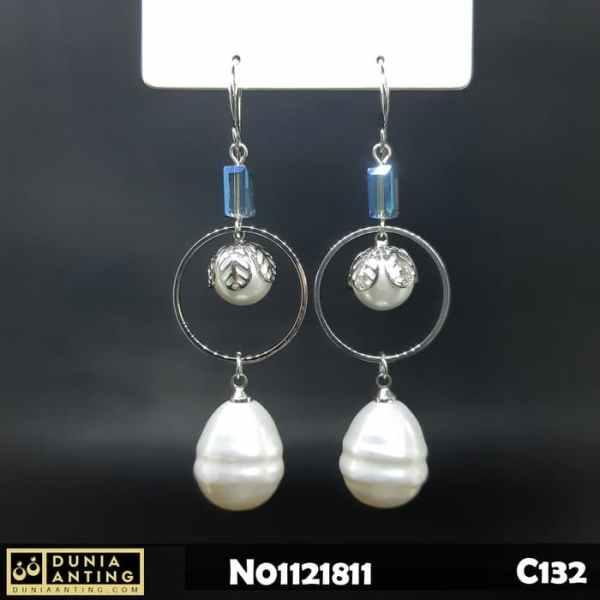 C132 Anting Gantung Platinum Double Mutiara 7cm Earings White Pearl