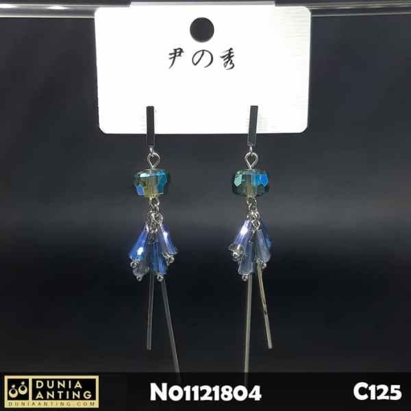 C125 Earings Anting Panjang Platinum Blue Crystal Model Tusuk