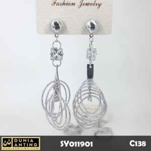 C138 Perhiasan Anting Earings Panjang 7cm Motif 6 Ring Pearl Silver