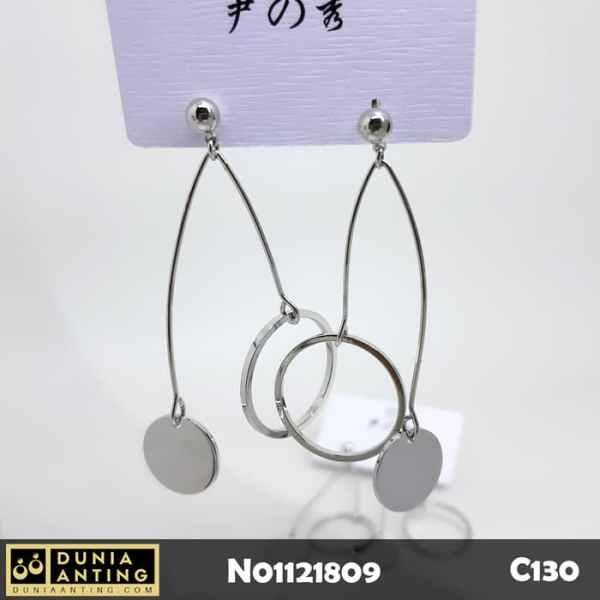 C130 Anting Tusuk Platinum Model Double Circle Round Earing 6,5cm
