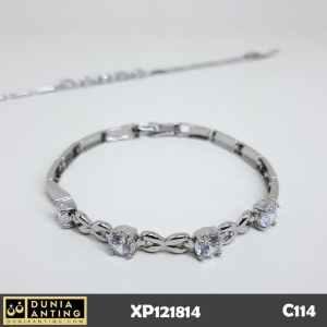 C114 Gelang Bracelet Silver Rantai Persegi MataEmpat Swarovski Imitasi