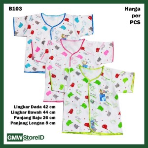 B103 Baju Bayi Lengan Pendek Kancing Katun Motif Lucu Baby Clothes SNI