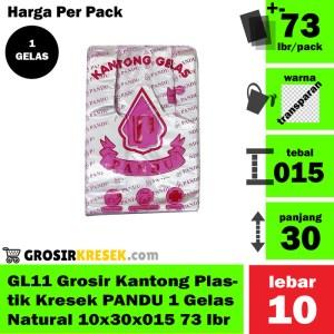 GL11 Grosir Kantong Kresek PANDU 1 Gelas Natural 10x30x015 73 lbr