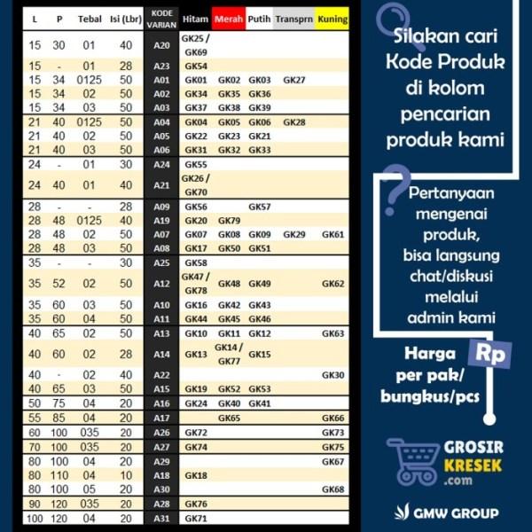 GP37 Grosir Kantong Plastik Es Serbaguna Jeruk PE 8x35x025 168 lbr GMW