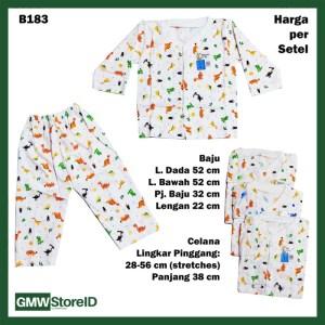 B183 Setelan Bayi Piyama Putih Motif Dino Celana Baju Lengan Panjang