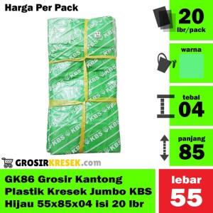 GK86 Grosir Kantong Plastik Kresek Jumbo KBS Hijau 55x85x04 isi 20 lbr