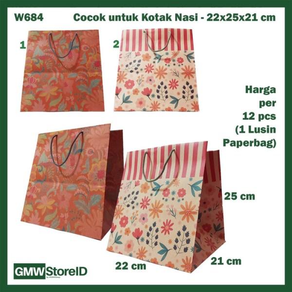 W684 Paperbag Kotak Nasi Batik Bunga Keren Goodiebag Paper 22x25x21cm
