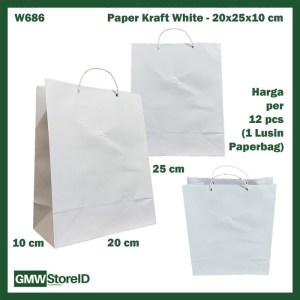 W686 Paperbag Paper Kraft Putih Polos 20x25x10cm Goodiebag Tas Kertas