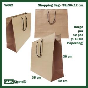 W682 Paperbag Coklat Polos Shopping Bag Goodiebag Belanjaan 35x30x12cm