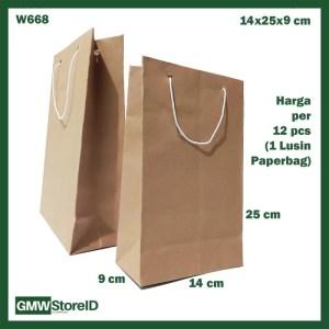 W668 Paperbag Polos Coklat Souvenir Goodie Bag Ukuran Sedang 14x25x9cm