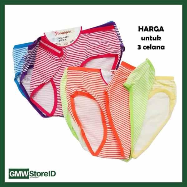 W617 isi 3 CD Wanita Size L Celana Dalam Cewek Warna Motif Garis J34
