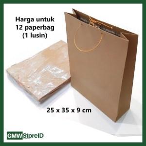 W548 Paperbag Goodie Bag Polos Coklat Souvenir Tas Kertas 25x35x9 cm