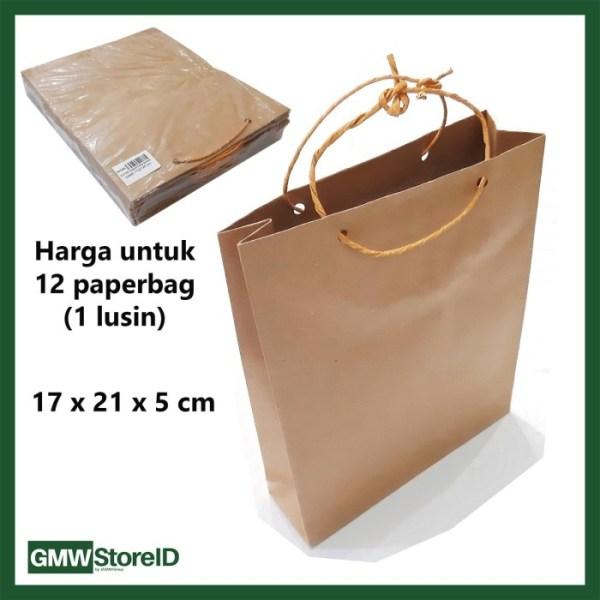 W546 Paperbag Coklat Polos Souvenir Goodie Bag Tas Kertas 17x21x5 cm