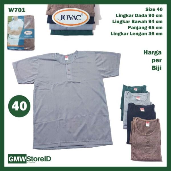 Kaos Oblong Pria JOVAC Warna Casual Baju Cowok Kancing W700 W701 W702