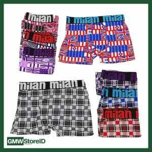 W364 Celana Boxer Motif Kotak Kotak Milan Size 3XL 4L Ban Karet Random