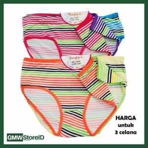 W623 isi 3 CD Perempuan Size L Underwear Cewek Motif Warna Garis J40