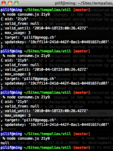 Screenshot of a terminal showing three consumptions of an alias and a fourth failng.