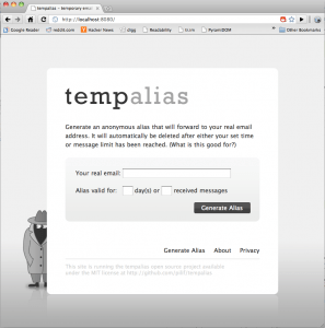 Screenshot of tempalias HTML running in Chrome