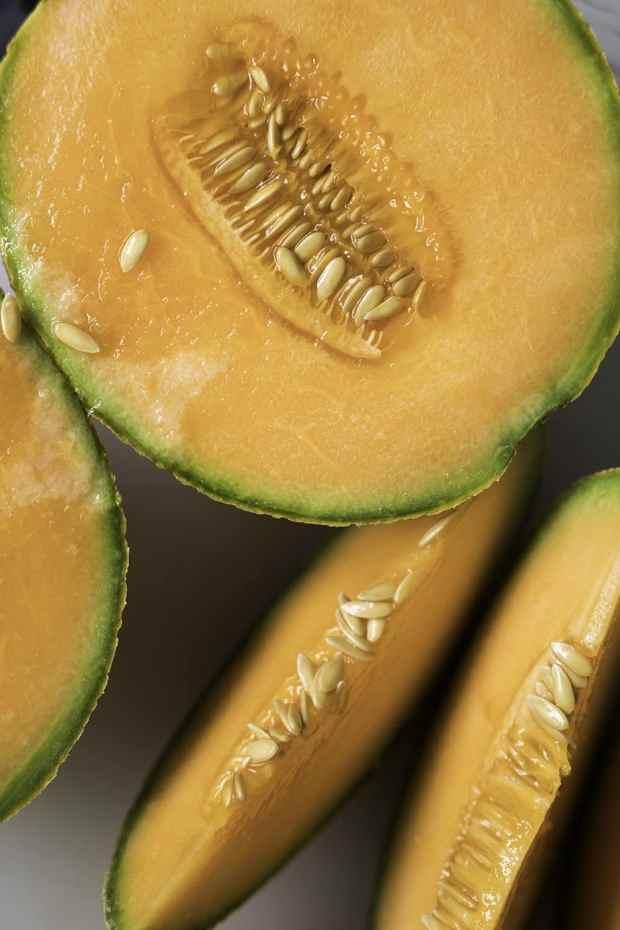 Minted Cantaloupe Sorbet (No Churn & 3-Ingredient) 🍈 #sorbet #cantaloupe #vegan