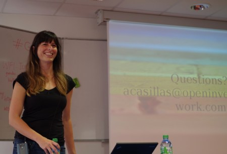 "Andrea Casillas ends her talk, ""Patents and copyright and trademarks… Oh, why!?"" (Photo by Allan Day.)"