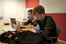 GSoC student next to his mentor (Photo by Oliver Propst.)