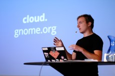 Jan-Christoph Borchardt on the GNOME, Owncloud relationship (Photo by Garrett LeSage.)