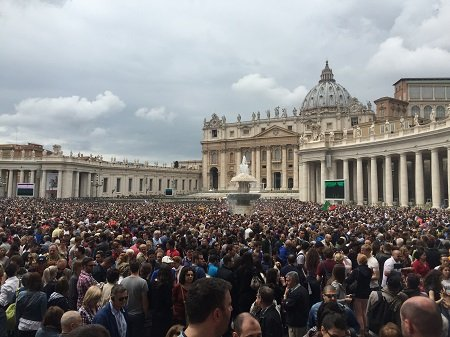 Pope holds Sunday prayer outside of St. Peter's Basilica in the Vatican