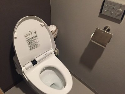 The buttons above the toilet paper holder control different functions.