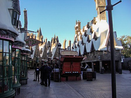 The empty alleys of Hogsmeade before the park opens.